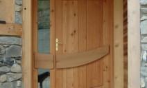 Porte entrée mélèze-chène, vitrée