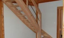 escalier 1/4 tour balancé, mélèze
