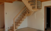 escalier CC 1/2 tour palier, frêne sapin