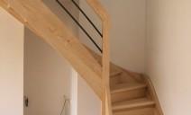 escalier 1/4 tour balancé, frêne