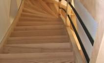 escalier 1/4 tour frêne, lisses acier