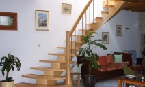 rampe lamellé-collé courbe, balustres acier